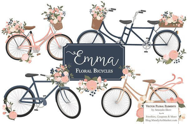 Navy & Pink Floral Bicycles Clipart