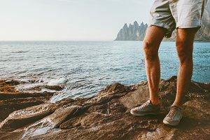 Feet man walking on beach outdoor