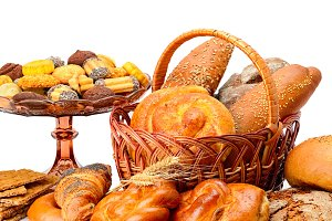 Collection of bread products isolate