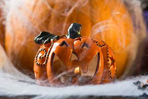Halloween squash and candle. Spider