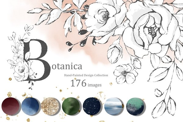 Botanica & Watercolor. Floral set