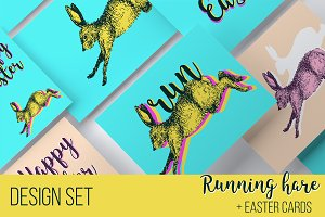 Hare bunny, Easter cards
