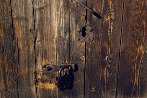 part of the old brown wooden door