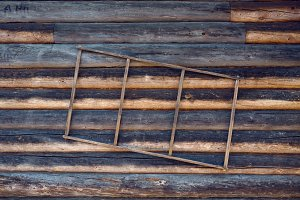 old wooden staircase hanging on the