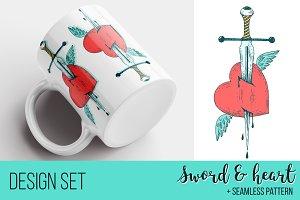 Sword & Heart design set