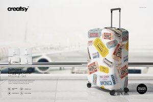 Suitcase Luggage Cover Mockup Set