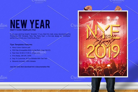 new year party flyer flyer templates creative market