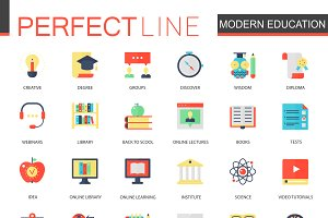 Modern education, e-learning icons
