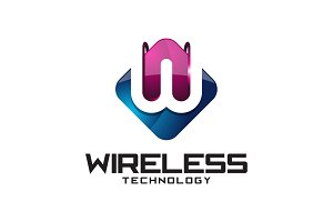Wireless Tech - 3D Letter W Logo