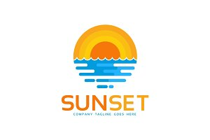Sunset Beach Logo Template