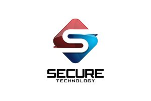 Secure Tech - 3D Letter S Logo