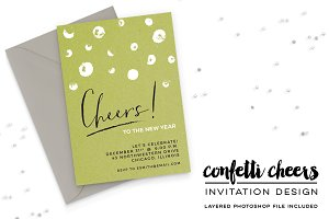 Confetti Cheers New Years Invitation