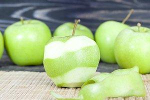 peeled green ripe apple