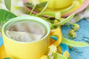 Cups of herbal tea with linden bloss