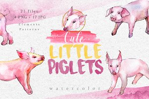Watercolor pink pig png set
