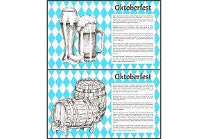 Beer Barrel and Glass Vintage Hand