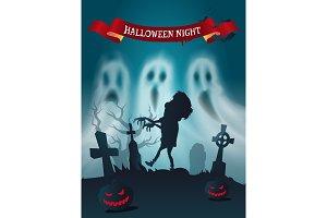 Happy Halloween Cemetery with Zombie