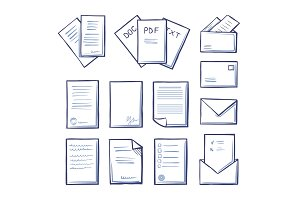Office Pdf and Doc Txt Files Icons
