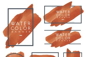 Set of orange watercolor banner