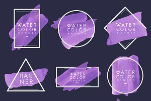 Set of purple watercolor banner