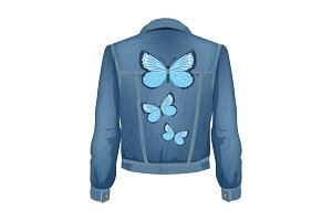 Jeans Jacket with Patches Vector