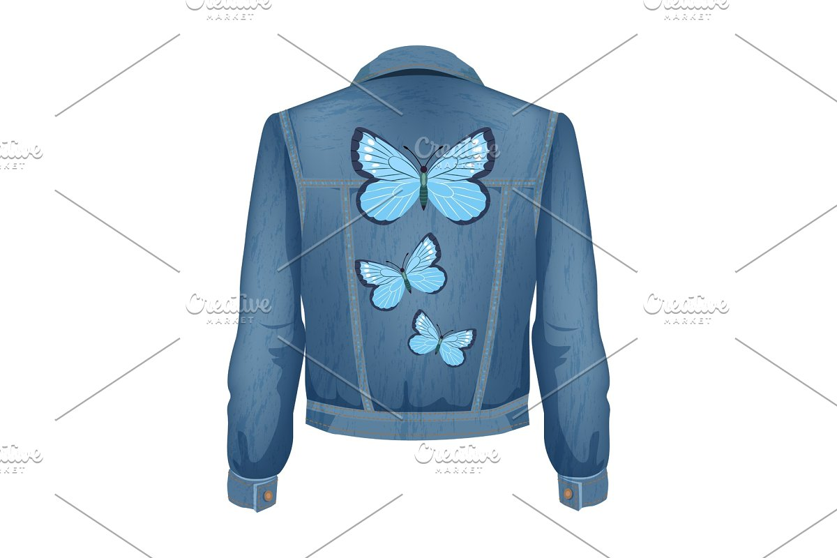 939cbaf412a Jeans Jacket with Patches Vector ~ Illustrations ~ Creative Market