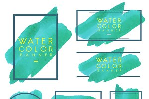 Set of green watercolor banner