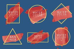 Set of red watercolor banner