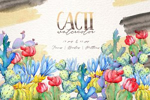 Cool colorful cacti PNG watercolor