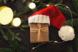 Close-up of Christmas gift box in Sa