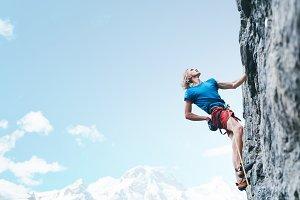 rock climbing. man rock climber