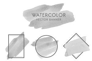 Set of gray watercolor banner