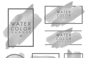 Set of gray watercolor banner