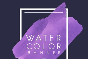 Purple watercolor banner design