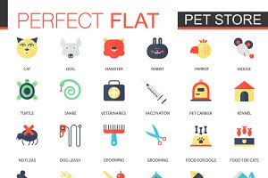 Vector set of flat Pet friend icons.