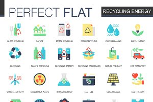 Recycling energy icons