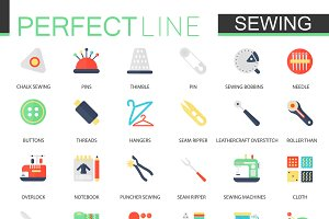 Needlework sewing equipment icons.