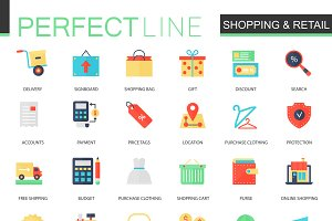 Shopping and retail icons.