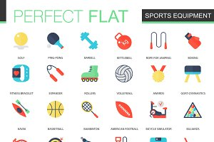 Sport equipment icons.