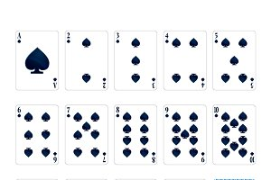Set of spades suit playing cards