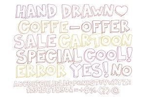 Color sketch funny handwritten font