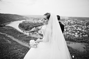 View of back gorgeous bride walking