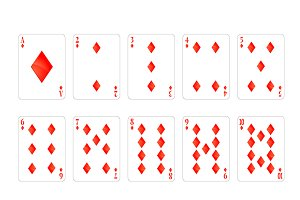 Set of diamonds suit playing cards