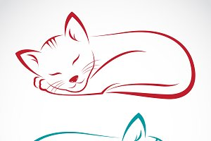 Vector of  cat on white background.