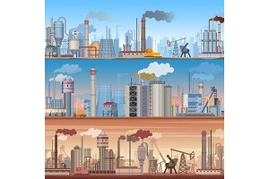 Realistic Industrial factory banners