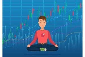 Happy man trader meditating