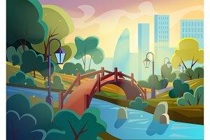 Autumn cartoon park with bridge