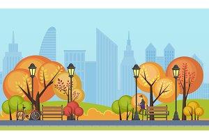 Autumn public city park