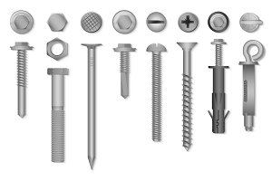 Realistic screws nuts bolts rivets