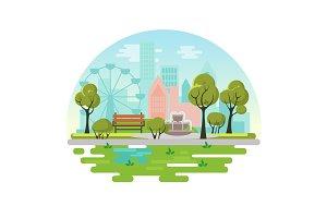City public park circle concept